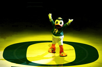 EUGENE, OR - JANUARY 13:  Puddles, the mascot, takes part in the opening ceremony beofre the Oregon Ducks versus the USC Trojans game at the grand opening of the Matthew Knight Arena on January 13, 2011 at Matthew Knight Arena in Eugene, Oregon.  (Photo b