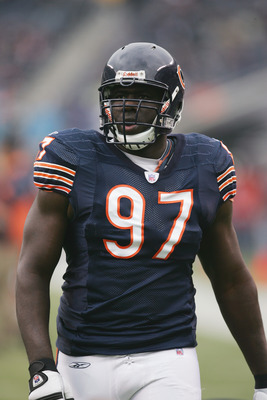 CHICAGO - NOVEMBER 20:  Defensive end Michael Haynes #97 of the Chicago Bears looks on against the Carolina Panthers at Soldier Field on November 20, 2005 in Chicago, Illinois. The Bears defeated the Panthers 13-3. (Photo by Jonathan Daniel/Getty Images)