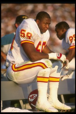 25 Nov 1990: Linebacker Percy Snow of the Kansas City Chiefs looks on during a game against the Los Angeles Raiders at the Coliseum in Los Angeles, California. The Chiefs won the game, 27-24.