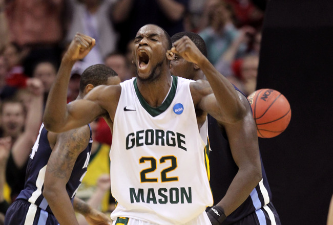 CLEVELAND, OH - MARCH 18:  Mike Morrison #22 of the George Mason Patriots reacts after a dunk late in the game against the Villanova Wildcats during the second round of the 2011 NCAA men's basketball tournament at Quicken Loans Arena on March 18, 2011 in