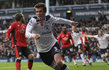 LONDON, ENGLAND - NOVEMBER 13:  Gareth Bale of Tottenham celebrates scoring their first goal during the Barclays Premier League match between Tottenham Hotspur and Blackburn Rovers at White Hart Lane on November 13, 2010 in London, England.  (Photo by Ham