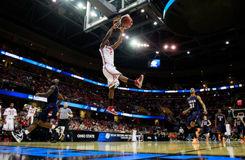 CLEVELAND, OH - MARCH 18:  Jordan Sibert #2 of the Ohio State Buckeyes goes up for a dunk against the Texas-San Antonio Roadrunners during the second round of the 2011 NCAA men's basketball tournament at Quicken Loans Arena on March 18, 2011 in Cleveland,