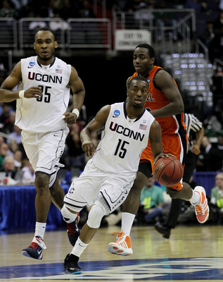 WASHINGTON - MARCH 17:  Kemba Walker #15 of the Connecticut Huskies brings the ball down the court against the Bucknell Bison during the second round of the 2011 NCAA men's basketball tournament at the Verizon Center on March 17, 2011 in Washington, DC.