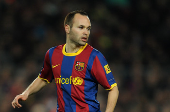 BARCELONA, SPAIN - MARCH 05:  Andres Iniesta of Barcelona in action during the la Liga match between Barcelona and Real Zaragoza at the Camp Nou stadium on March 5, 2011 in Barcelona, Spain.  (Photo by Jasper Juinen/Getty Images)