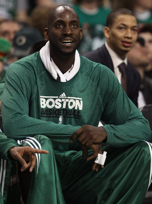 BOSTON, MA - MARCH 16:  Kevin Garnett #5 of the Boston Celtics encourages his teammates from the bench in the fourth quarter against the Indiana Pacers on March 16, 2011 at the TD Garden in Boston, Massachusetts. The Celtics defeated the Indiana Pacers 92