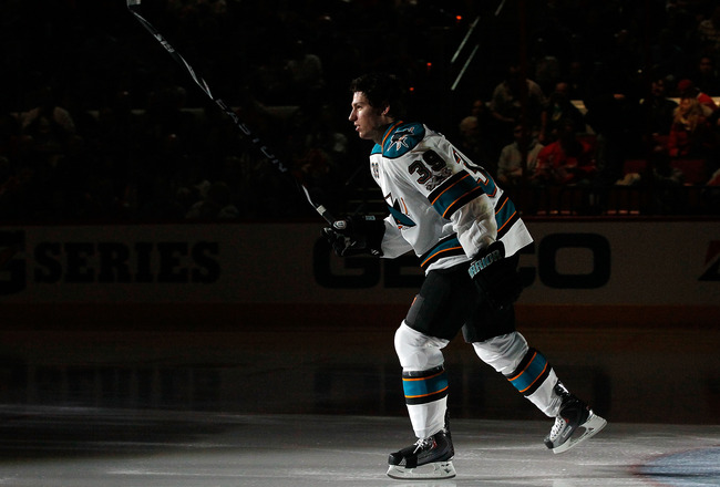 RALEIGH, NC - JANUARY 29:  Logan Couture #39 of the San Jose Sharks is introduced during the Honda NHL SuperSkills competition part of 2011 NHL All-Star Weekend at the RBC Center on January 29, 2011 in Raleigh, North Carolina.  (Photo by Kevin C. Cox/Gett