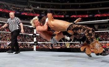 Dolph hitting Morrison with the Zig-Zag