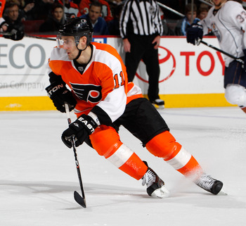 PHILADELPHIA, PA - MARCH 08:  Blair Betts #11 of the Philadelphia Flyers skates during an NHL hockey game against the Edmonton Oilers at the Wells Fargo Center on March 8, 2011 in Philadelphia, Pennsylvania.  (Photo by Paul Bereswill/Getty Images)