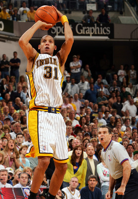 INDIANAPOLIS - MAY 13:  Reggie Miller #31 of the Indiana Pacers takes the last shot of the game against the Detroit Pacers in Game three of the Eastern Conference Semifinals during the 2005 NBA Playoffs at Conseco Fieldhouse on May 13, 2005 in Indianapoli