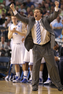 TAMPA, FL - MARCH 17:  Head coach John Calipari of the Kentucky Wildcats reacts against the Princeton Tigers during the second round of the 2011 NCAA men's basketball tournament at St. Pete Times Forum on March 17, 2011 in Tampa, Florida.  (Photo by Mike