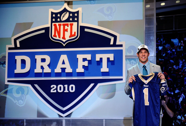 NEW YORK - APRIL 22:  Quarterback Sam Bradford of the Oklahoma Soomers holds up a St. Louis Rams jersey after he was picked numer 1 overall by the Rams during the 2010 NFL Draft at Radio City Music Hall on April 25, 2009 in New York City.  (Photo by Jeff