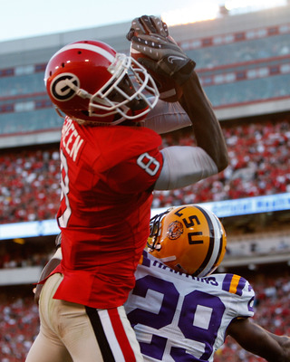 ATHENS, GA - OCTOBER 03: A.J. Green #8 of the Georgia Bulldogs pulls in this touchdown reception against Chris Hawkins #29 of the Louisiana State University Tigers at Sanford Stadium on October 3, 2009 in Athens, Georgia. (Photo by Kevin C. Cox/Getty Imag