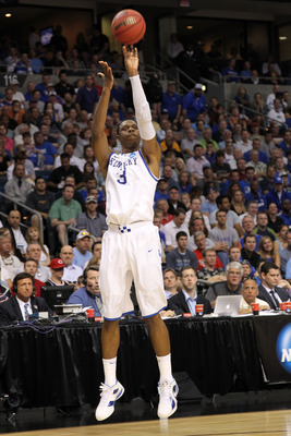 TAMPA, FL - MARCH 19:  Terrence Jones #3 of the Kentucky Wildcats attempts a shot against West Virginia Mountaineers during the third round of the 2011 NCAA men's basketball tournament at St. Pete Times Forum on March 19, 2011 in Tampa, Florida.  (Photo b