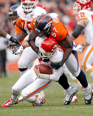 DENVER - NOVEMBER 14:  Linebacker Mario Haggan #57 of the Denver Broncos sacks quarterback Matt Cassel #7 of the Kansas City Chiefs during the first quarter at INVESCO Field at Mile High on November 14, 2010 in Denver, Colorado. (Photo by Justin Edmonds/G