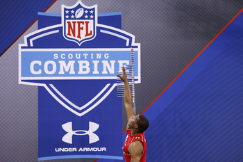 INDIANAPOLIS, IN - FEBRUARY 27: Cam Newton participates in the vertical jump during the 2011 NFL Scouting Combine at Lucas Oil Stadium on February 27, 2011 in Indianapolis, Indiana. (Photo by Joe Robbins/Getty Images)