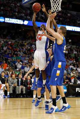 TAMPA, FL - MARCH 17:  Casey Prather #24 of the Florida Gators attempts a shot against the UC Santa Barbara Gauchos during the second round of the 2011 NCAA men's basketball tournament at St. Pete Times Forum on March 17, 2011 in Tampa, Florida. Florida w