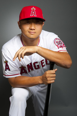 TEMPE, AZ - FEBRUARY 21: Hank Conger #16 of the Los Angeles Angels of Anaheim poses during their photo day at Tempe Diablo Stadium on February 21, 2011 in Tempe, Arizona.  (Photo by Rob Tringali/Getty Images)