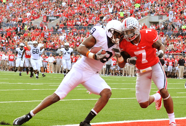 COLUMBUS, OH - NOVEMBER 13:  Justin Brown #19 of the Penn State Nittany Lions scores on a 23-yard pass reception in the first quarter as Jermale Hines #7 of the Ohio State Buckeyes defends at Ohio Stadium on November 13, 2010 in Columbus, Ohio.  (Photo by