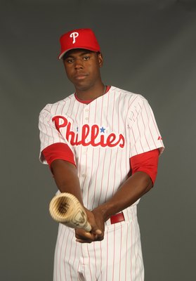 CLEARWATER, FL - FEBRUARY 24:  John Mayberry Jr. #40 of the Philadelphia Phillies poses for a photo during Spring Training Media Photo Day at Bright House Networks Field on February 24, 2010 in Clearwater, Florida.  (Photo by Nick Laham/Getty Images)