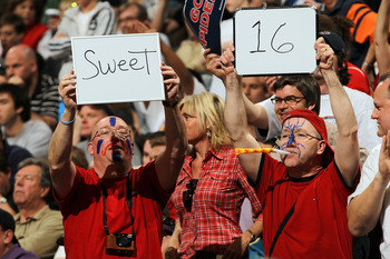 DENVER, CO - MARCH 19:  Fans of the Richmond Spiders hold up a sign reading 'Sweet 16' during the third round of the 2011 NCAA men's basketball tournament at Pepsi Center on March 19, 2011 in Denver, Colorado.  (Photo by Doug Pensinger/Getty Images)