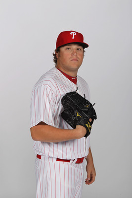 CLEARWATER, FL - FEBRUARY 22:  Mike Zagurski #59 of the Philadelphia Phillies poses for a photo during Spring Training Media Photo Day at Bright House Networks Field on February 22, 2011 in Clearwater, Florida.  (Photo by Nick Laham/Getty Images)
