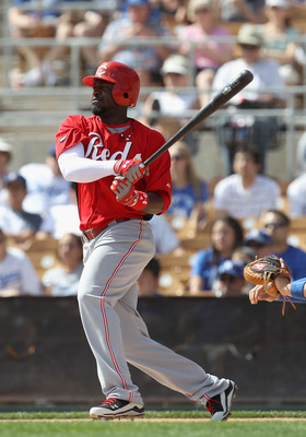 GLENDALE, AZ - MARCH 05:  Brandon Phillips #4 of the Cincinnati Reds bats against the Los Angeles Dodgers during the spring training game at Camelback Ranch on March 5, 2011 in Glendale, Arizona.  (Photo by Christian Petersen/Getty Images)