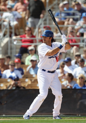 GLENDALE, AZ - MARCH 05:  Andre Ethier #16 of the Los Angeles Dodgers bats against the Cincinnati Reds during the spring training game at Camelback Ranch on March 5, 2011 in Glendale, Arizona.  (Photo by Christian Petersen/Getty Images)