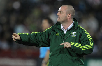 COMMERCE CITY, CO - MARCH 19: Head Coach John Spencer of the Portland Timbers  directs his team against the Colorado Rapids  at Dicks Sporting Goods Park on March 19, 2011 in Commerce City, Colorado.  (Photo by Michael Martin/Getty Images)