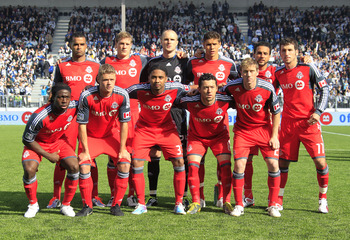 VANCOUVER, BC - MARCH 19:  The starting eleven players with the Toronto FC pose for a team photo before their game against the Vancouver Whitecaps FC  March 19, 2011 in Vancouver, British Columbia, Canada.  Vancouver won their first ever MLS game 4-2. (Ph