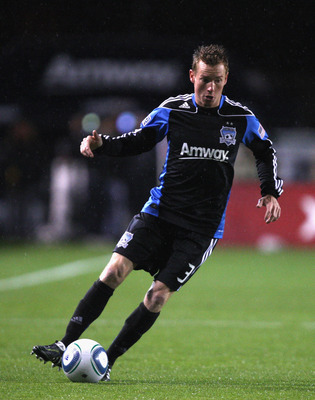 SANTA CLARA, CA - MARCH 19:  Chris Leitch #3 of the San Jose Earthquakes in action during their game against Real Salt Lake at Buck Shaw Stadium on March 19, 2011 in Santa Clara, California.  (Photo by Ezra Shaw/Getty Images)