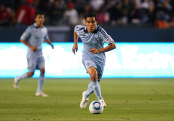 CARSON, CA - MARCH 19:  Omar Bravo #99 of Sporting Kansas City paces the ball through midfield on the attack during the MLS match against Chivas USA at The Home Depot Center on March 19, 2011 in Carson, California. SKC defeated Chivas USA 3-2.  (Photo by