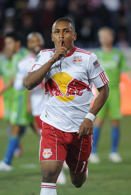 HARRISON, NJ - MARCH 19: Juan Agudelo #17 of the New York Red Bulls celebrates scoring against the Seattle Sounders in the second half on March 19, 2011 at Red Bull Arena in Harrison, New Jersey. (Photo by Jonathan Fickies/Getty Images for New York Red Bu