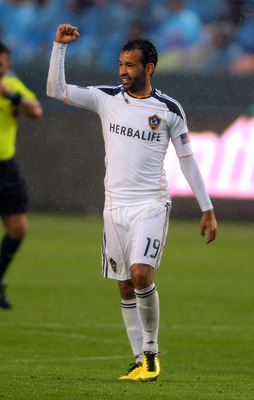 CARSON, CA - MARCH 20:  Juninho #19 of the Los Angeles Galaxy reacts after his goal in the first half during the MLS match against the New England Revolution at The Home Depot Center on March 20, 2011 in Carson, California. The Revolution and the Galaxy p