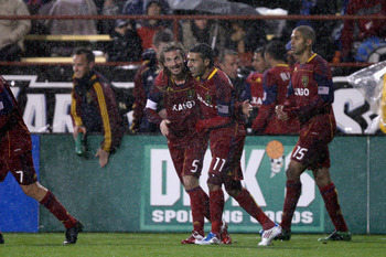 SANTA CLARA, CA - MARCH 19:  Kyle Beckerman #5 of Real Salt Lake is congratulated by Javier Morales #11 after Beckerman scored the only goal of their game against the San Jose Earthquakes at Buck Shaw Stadium on March 19, 2011 in Santa Clara, California.