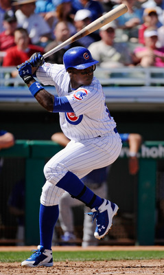 MESA, AZ - MARCH 09:  Alfonso Soriano #12 of the Chicago Cubs swings at a pitch against the Kansas City Royals during the spring training baseball game at HoHoKam Stadium on March 9, 2011 in Mesa, Arizona.  (Photo by Kevork Djansezian/Getty Images)