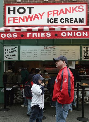 BOSTON - APRIL 10: A general view of Fenway Franks concession stand in Fenway Park taken during Opening day between the Boston Red Sox and the Seattle Mariners  on April 10, 2007 in Boston, Massachusetts. The Boston Red Sox defeated the Seattle Mariners 1
