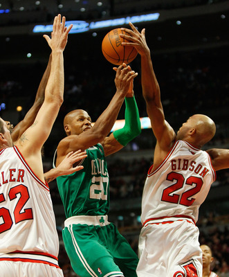 CHICAGO - DECEMBER 12: Taj Gibson #22 of the Chicago Bulls blocks a shot by Ray Allen #20 of the Boston Celtics at the United Center on December 12, 2009 in Chicago, Illinois. NOTE TO USER: User expressly acknowledges and agrees that, by downloading and/o
