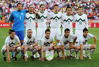PORT ELIZABETH, SOUTH AFRICA - JUNE 23:  The Slovenia team line up for a group photo before the 2010 FIFA World Cup South Africa Group C match between Slovenia and England at the Nelson Mandela Bay Stadium on June 23, 2010 in Port Elizabeth, South Africa.