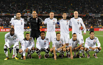 RUSTENBURG, SOUTH AFRICA - JUNE 26: The USA team poses for a photograph during the 2010 FIFA World Cup South Africa Round of Sixteen match between USA and Ghana at Royal Bafokeng Stadium on June 26, 2010 in Rustenburg, South Africa.  (Photo by Kevork Djan