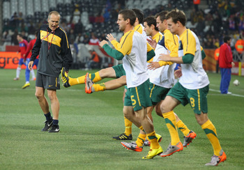 NELSPRUIT, SOUTH AFRICA - JUNE 23:  Conditioning coach Darren Burgess with the Australia team during the warm up ahead of the 2010 FIFA World Cup South Africa Group D match between Australia and Serbia at Mbombela Stadium on June 23, 2010 in Nelspruit, So