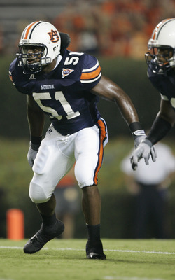 AUBURN, AL - SEPTEMBER 3:  Linebacker Travis Williams #51 of the Auburn Tigers gets set for play against the Georgia Tech Yellow Jackets during the game on September 3, 2005 at Jordan-Hare Stadium in Auburn, Alabama.  Georgia Tech won 23-14.  (Photo by Br