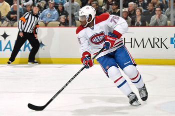 PITTSBURGH, PA - MARCH 12:  P.K. Subban #76 of the Montreal Canadiens skates with the puck against the Pittsburgh Penguins on March 12, 2011 at CONSOL Energy Center in Pittsburgh, Pennsylvania.  (Photo by Jamie Sabau/Getty Images)