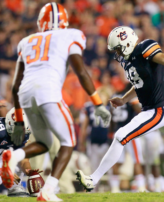 AUBURN, AL - SEPTEMBER 18:  Kicker Wes Byrum #18 of the Auburn Tigers kicks the go-ahead field goal in overtime against the Clemson Tigers at Jordan-Hare Stadium on September 18, 2010 in Auburn, Alabama.  (Photo by Kevin C. Cox/Getty Images)