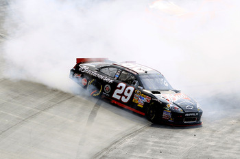 BRISTOL, TN - MARCH 20:  Kevin Harvick, driver of the #29 Budweiser Chevrolet, spins out after an incident in the NASCAR Sprint Cup Series Jeff Byrd 500 Presented By Food City at Bristol Motor Speedway on March 20, 2011 in Bristol, Tennessee.  (Photo by C
