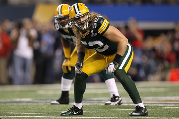 ARLINGTON, TX - FEBRUARY 06:  Clay Matthews #52 of the Green Bay Packers looks on from the field against the Pittsburgh Steelers during Super Bowl XLV at Cowboys Stadium on February 6, 2011 in Arlington, Texas.  (Photo by Ronald Martinez/Getty Images)