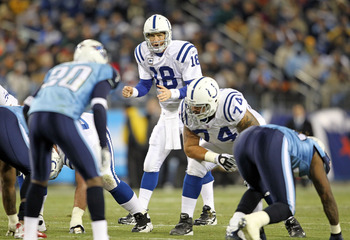 NASHVILLE, TN - DECEMBER 09:  Peyton Manning #18 of the Indianapolis Colts gives instructions to his team during the NFL game against the Tennessee Titans  at LP Field on December 9, 2010 in Nashville, Tennessee.  (Photo by Andy Lyons/Getty Images)