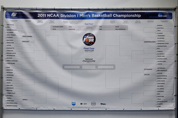 TAMPA, FL - MARCH 17:  A banner with the Men's NCAA Basketball Tournament BRacket is seen during the second round of the 2011 NCAA men's basketball tournament at St. Pete Times Forum on March 17, 2011 in Tampa, Florida.  (Photo by J. Meric/Getty Images)
