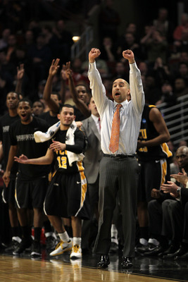 CHICAGO, IL - MARCH 20:  \Head coach Shaka Smart of the Virginia Commonwealth Rams celebrates in the first half of the game against the Purdue Boilermakers during the third round of the 2011 NCAA men's basketball tournament at the United Center on March 2