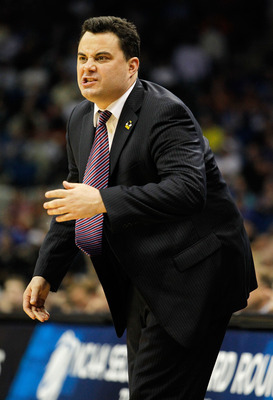 TULSA, OK - MARCH 18:  Head coach Sean Miller of the Arizona Wildcats yells from the sidelines during the second round game against the Memphis Tigers in the 2011 NCAA men's basketball tournament at BOK Center on March 18, 2011 in Tulsa, Oklahoma.  (Photo