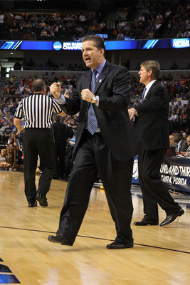 TAMPA, FL - MARCH 19:  Head coach John Calipari of the Kentucky Wildcats reacts against the West Virginia Mountaineers during the third round of the 2011 NCAA men's basketball tournament at St. Pete Times Forum on March 19, 2011 in Tampa, Florida.  (Photo